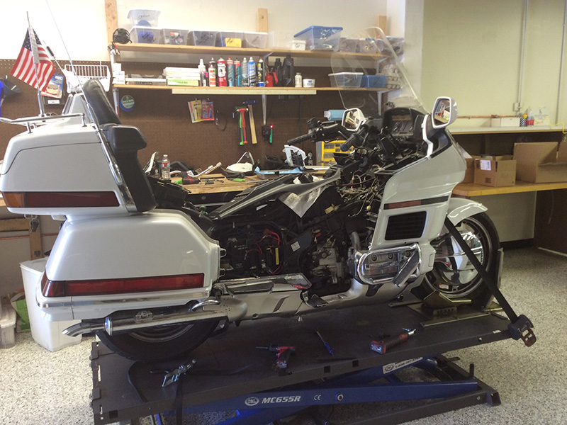 Rocky's Honda Goldwing 1500 fits nicely on the lift.  Rick can work on any type of bike.